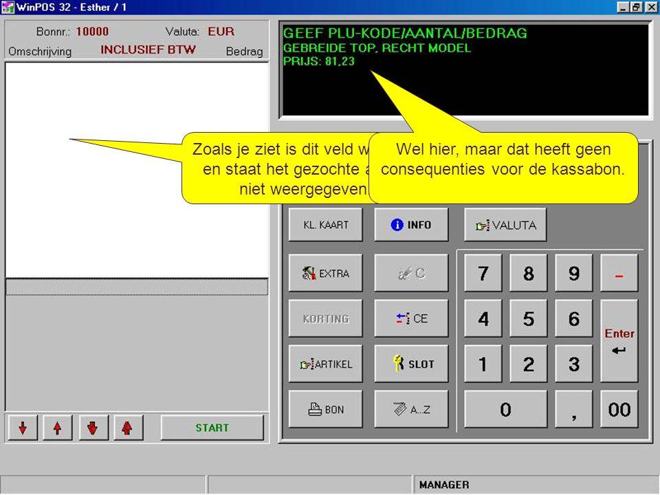 Kort samengevat – Met behulp van de [Info]-toets kun je informatie opzoeken over een artikel, zonder dat er een kassabon wordt aangemaakt; – Nadat de [Info]-toets is aangeklikt, klik je op de [Artikel]-toets om de informatie over een artikel op te zoeken.
