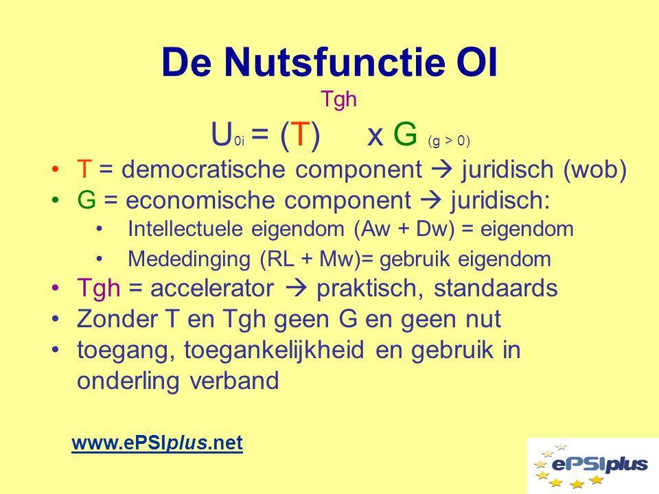De Nutsfunctie OI www.ePSIplus.net Tgh U 0i = (T) x G (g > 0) •T = democratische component  juridisch (wob) •G = economische component  juridisch: •Intellectuele eigendom (Aw + Dw) = eigendom •Mededinging (RL + Mw)= gebruik eigendom •Tgh = accelerator  praktisch, standaards •Zonder T en Tgh geen G en geen nut •toegang, toegankelijkheid en gebruik in onderling verband