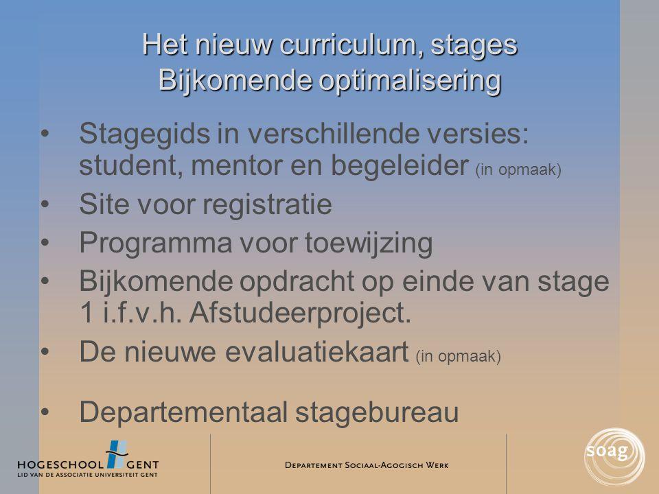 Het nieuw curriculum, stages Bijkomende optimalisering •Stagegids in verschillende versies: student, mentor en begeleider (in opmaak) •Site voor regis