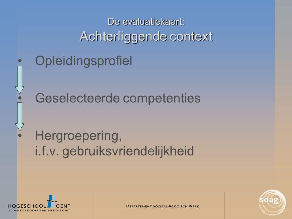 De evaluatiekaart: Achterliggende context •Opleidingsprofiel •Geselecteerde competenties •Hergroepering, i.f.v. gebruiksvriendelijkheid