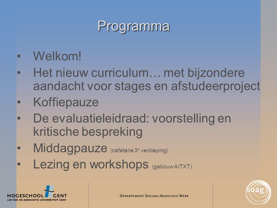 Programma •Welkom! •Het nieuw curriculum… met bijzondere aandacht voor stages en afstudeerproject •Koffiepauze •De evaluatieleidraad: voorstelling en