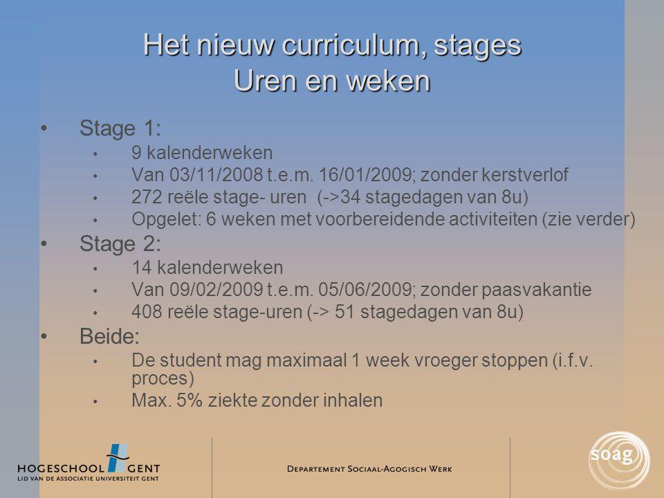 Het nieuw curriculum, stages Uren en weken •Stage 1: • 9 kalenderweken • Van 03/11/2008 t.e.m. 16/01/2009; zonder kerstverlof • 272 reële stage- uren