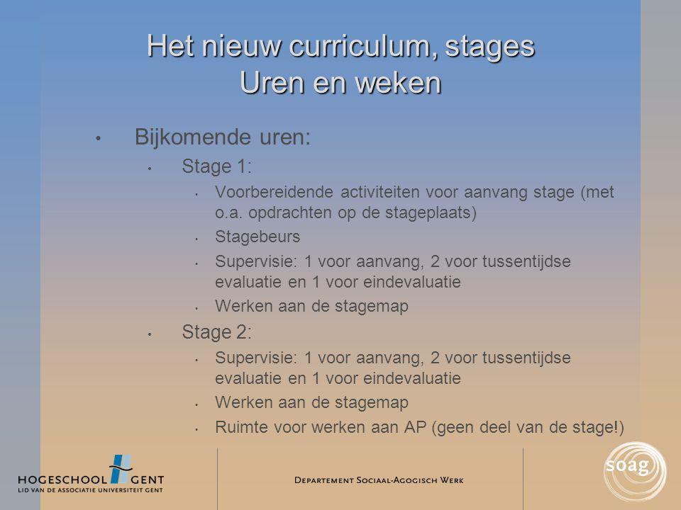 Het nieuw curriculum, stages Uren en weken • Bijkomende uren: • Stage 1: • Voorbereidende activiteiten voor aanvang stage (met o.a. opdrachten op de s
