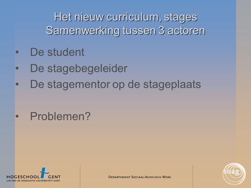 Het nieuw curriculum, stages Samenwerking tussen 3 actoren •De student •De stagebegeleider •De stagementor op de stageplaats •Problemen?