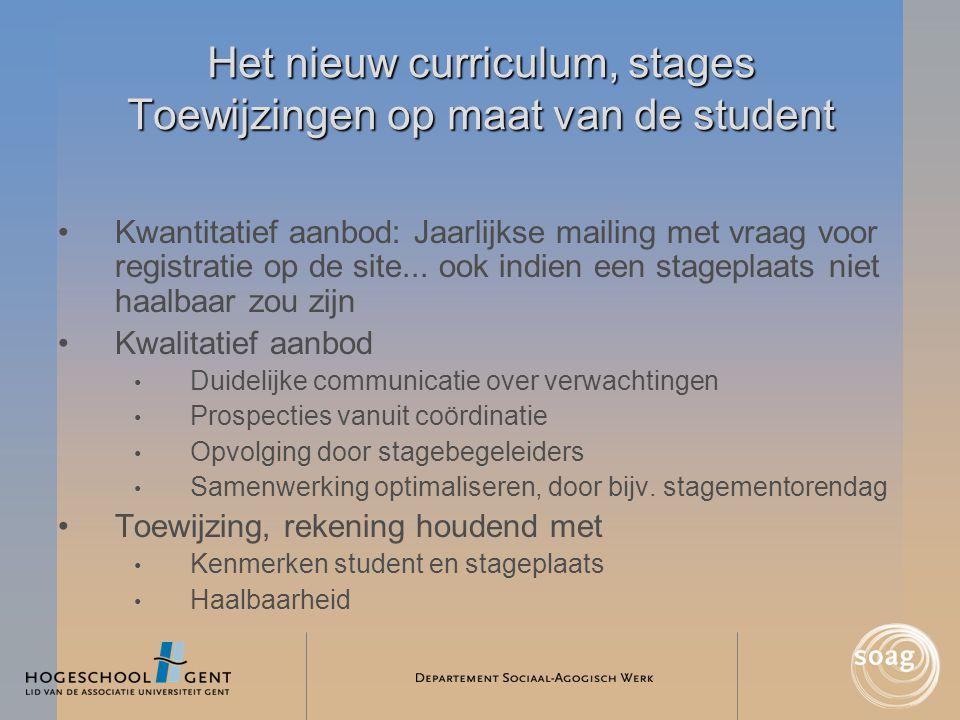 Het nieuw curriculum, stages Toewijzingen op maat van de student •Kwantitatief aanbod: Jaarlijkse mailing met vraag voor registratie op de site... ook