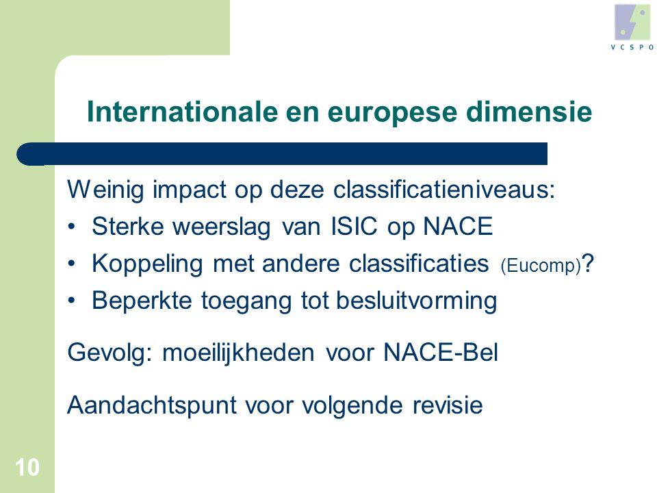 10 Internationale en europese dimensie Weinig impact op deze classificatieniveaus: •Sterke weerslag van ISIC op NACE •Koppeling met andere classificaties (Eucomp) .