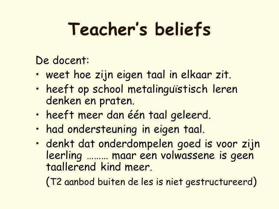 Teacher's beliefs De docent: •weet hoe zijn eigen taal in elkaar zit. •heeft op school metalinguïstisch leren denken en praten. •heeft meer dan één ta