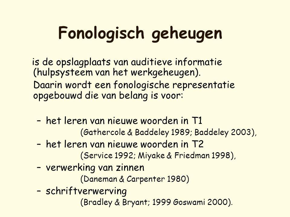 Fonologisch geheugen is de opslagplaats van auditieve informatie (hulpsysteem van het werkgeheugen). Daarin wordt een fonologische representatie opgeb