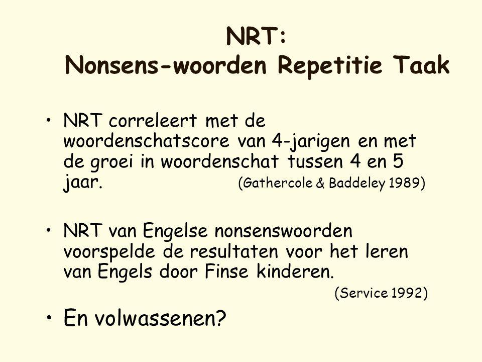 NRT: Nonsens-woorden Repetitie Taak •NRT correleert met de woordenschatscore van 4-jarigen en met de groei in woordenschat tussen 4 en 5 jaar. (Gather