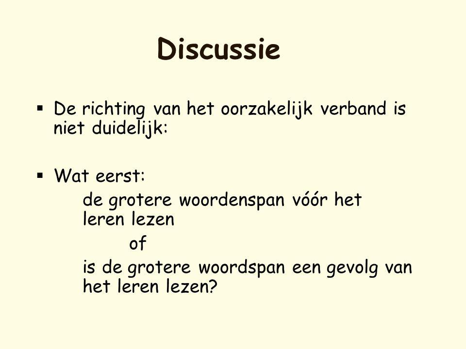 Discussie  De richting van het oorzakelijk verband is niet duidelijk:  Wat eerst: de grotere woordenspan vóór het leren lezen of is de grotere woord