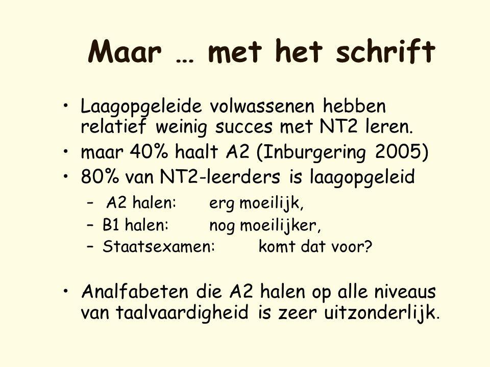 Maar … met het schrift •Laagopgeleide volwassenen hebben relatief weinig succes met NT2 leren. •maar 40% haalt A2 (Inburgering 2005) •80% van NT2-leer
