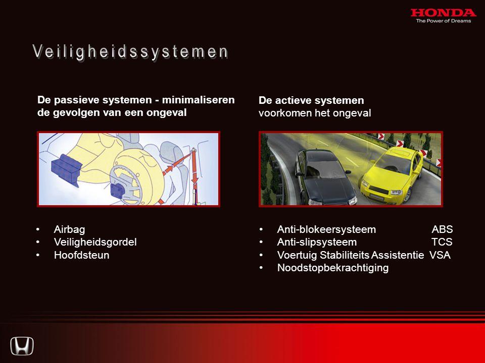 De passieve systemen - minimaliseren de gevolgen van een ongeval De actieve systemen voorkomen het ongeval •Anti-blokeersysteem ABS •Anti-slipsysteem TCS •Voertuig Stabiliteits Assistentie VSA •Noodstopbekrachtiging •Airbag •Veiligheidsgordel •Hoofdsteun