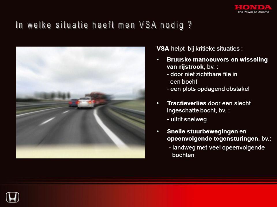 VSA helpt bij kritieke situaties : •Bruuske manoeuvers en wisseling van rijstrook, bv.