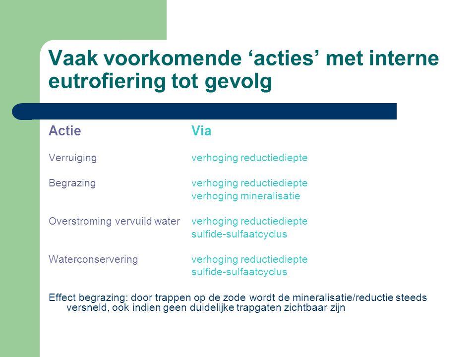 Vaak voorkomende 'acties' met interne eutrofiering tot gevolg ActieVia Verruiging verhoging reductiediepte Begrazingverhoging reductiediepte verhoging