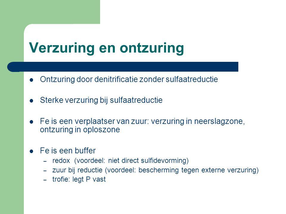 Verzuring en ontzuring  Ontzuring door denitrificatie zonder sulfaatreductie  Sterke verzuring bij sulfaatreductie  Fe is een verplaatser van zuur: