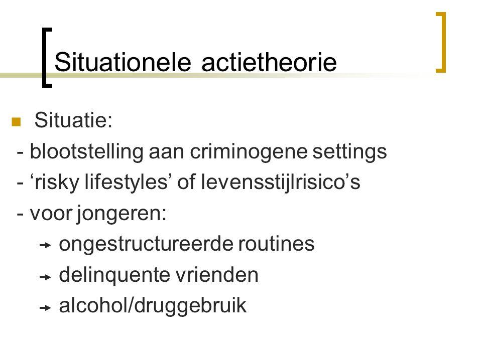Situationele actietheorie  Situatie: - blootstelling aan criminogene settings - 'risky lifestyles' of levensstijlrisico's - voor jongeren: ongestruct