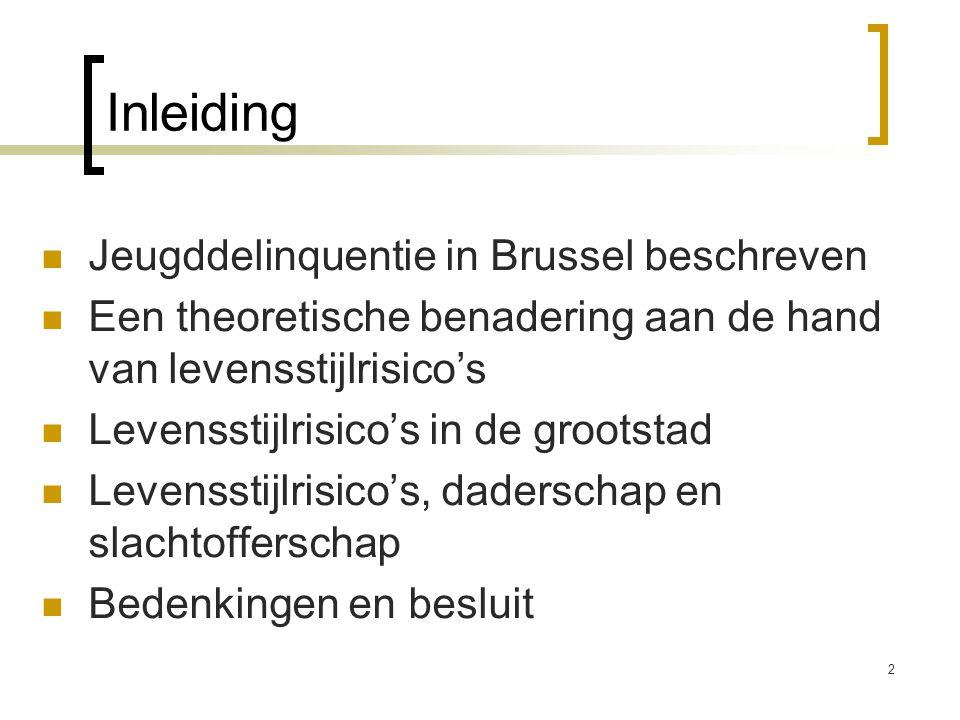 2 Inleiding  Jeugddelinquentie in Brussel beschreven  Een theoretische benadering aan de hand van levensstijlrisico's  Levensstijlrisico's in de gr