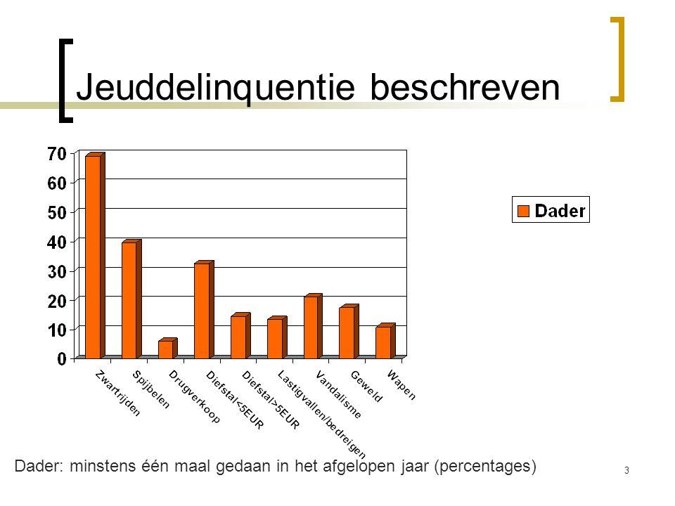 Jeuddelinquentie beschreven 3 Dader: minstens één maal gedaan in het afgelopen jaar (percentages)