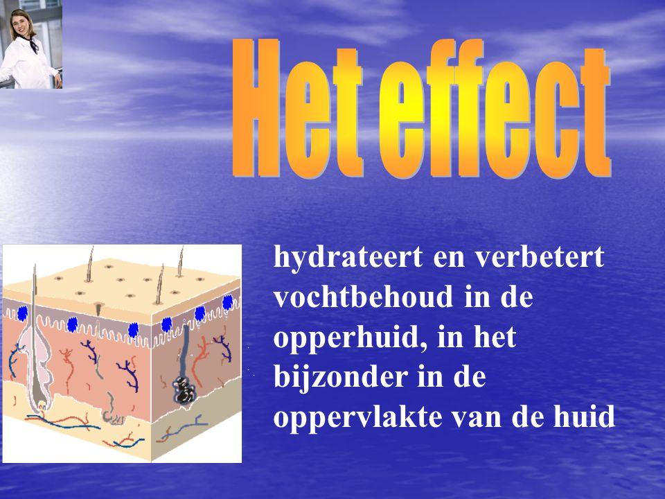 hydrateert en verbetert vochtbehoud in de opperhuid, in het bijzonder in de oppervlakte van de huid