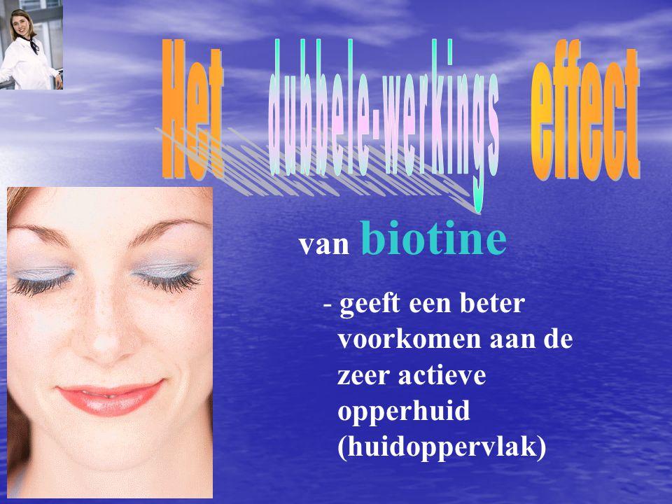 - geeft een beter voorkomen aan de zeer actieve opperhuid (huidoppervlak) van biotine
