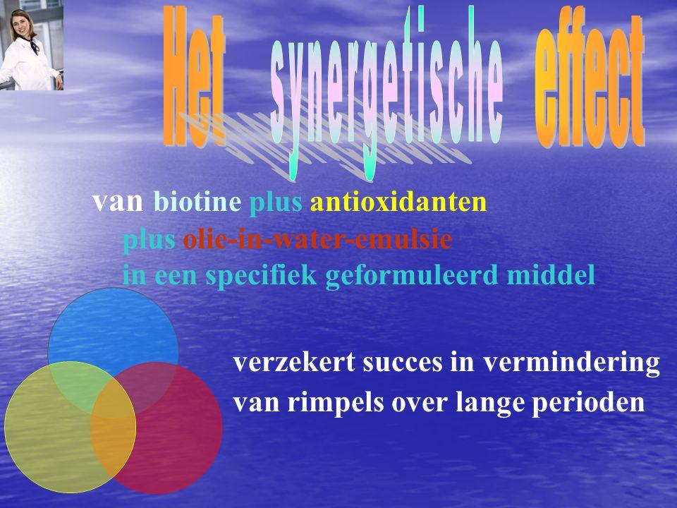 van biotine plus antioxidanten plus olie-in-water-emulsie in een specifiek geformuleerd middel verzekert succes in vermindering van rimpels over lange