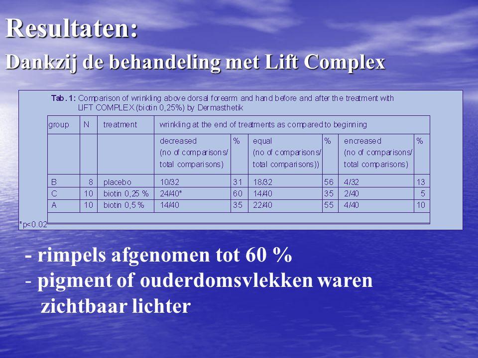 Resultaten: Dankzij de behandeling met Lift Complex - rimpels afgenomen tot 60 % - pigment of ouderdomsvlekken waren zichtbaar lichter