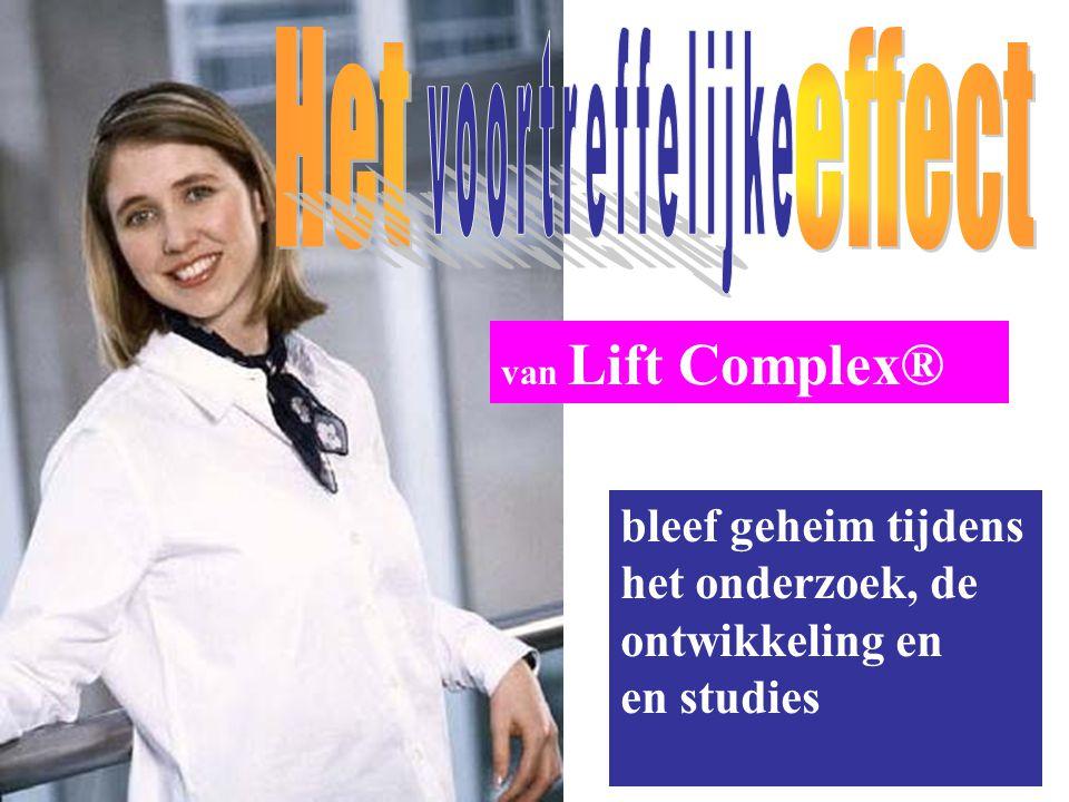 van Lift Complex® bleef geheim tijdens het onderzoek, de ontwikkeling en en studies