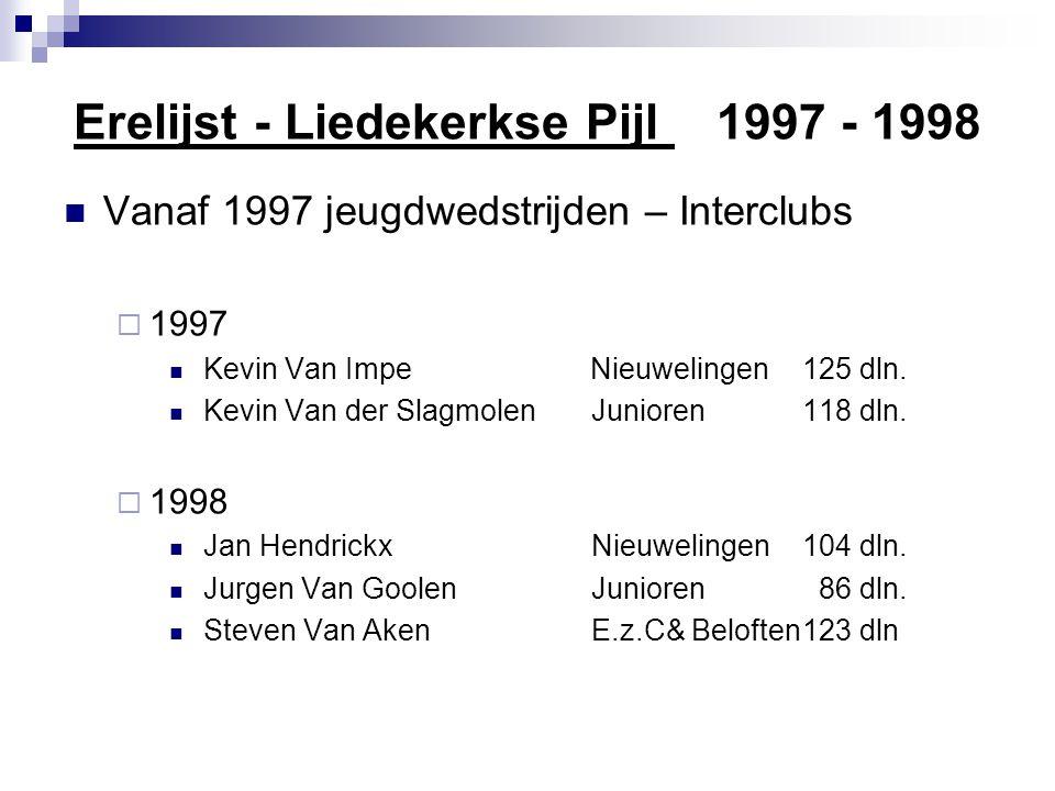 Erelijst - Liedekerkse Pijl 1999 - 2001  Vanaf 1999 Interclub Beloften en elite zonder contract  1999137 deelnemers  1.