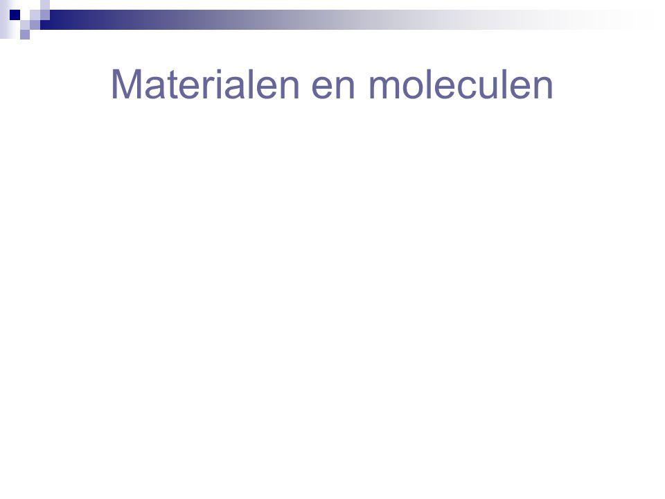 Moleculen  Elke stof heeft zijn eigen soort moleculen  Moleculen bewegen  Er zit ruimte tussen moleculen  In vaste stoffen bewegen moleculen rondom een vaste plaats  Hoe hoger de temperatuur, hoe sneller moleculen bewegen  Moleculen trekken elkaar aan