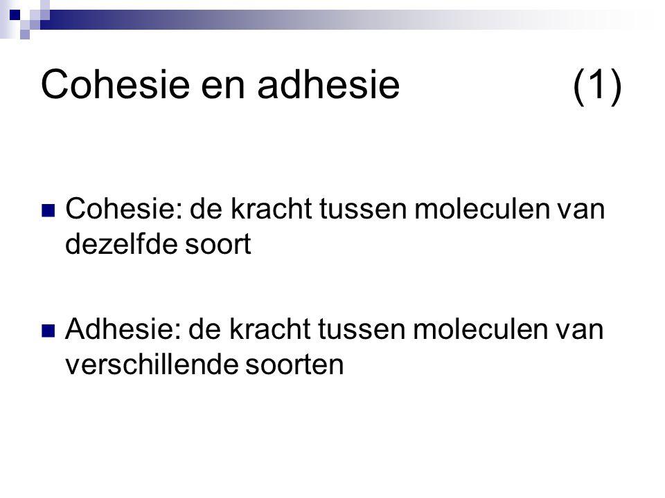 Cohesie en adhesie(2)  Meniscus  Bol: cohesie is groter dan adhesie Moleculen zitten liever tegen elkaar aan dan tegen het glas  Hol: adhesie is groter dan cohesie Moleculen zitten liever het glas dan tegen elkaar  Capillaire werking  Capillair is een heel dun buisje  Adhesie tegen de zwaartekracht in!