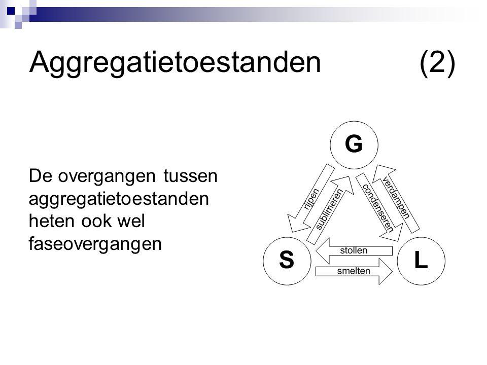 Aggregatietoestanden(2) De overgangen tussen aggregatietoestanden heten ook wel faseovergangen