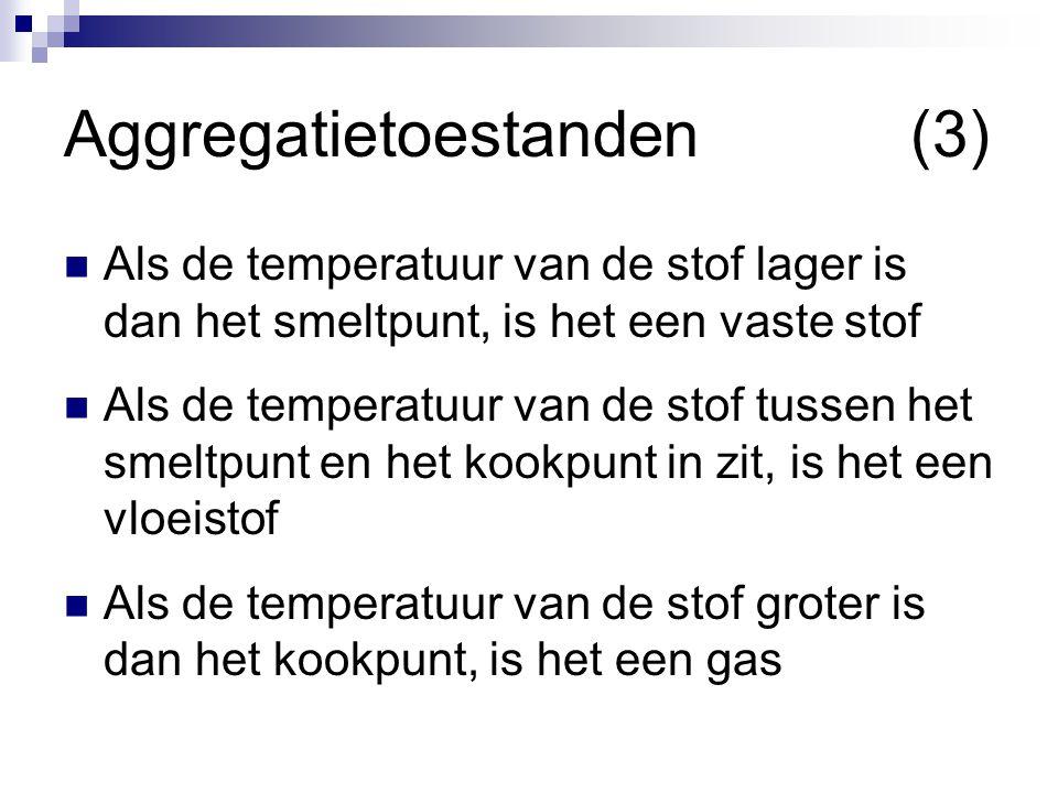 Aggregatietoestanden(3)  Als de temperatuur van de stof lager is dan het smeltpunt, is het een vaste stof  Als de temperatuur van de stof tussen het