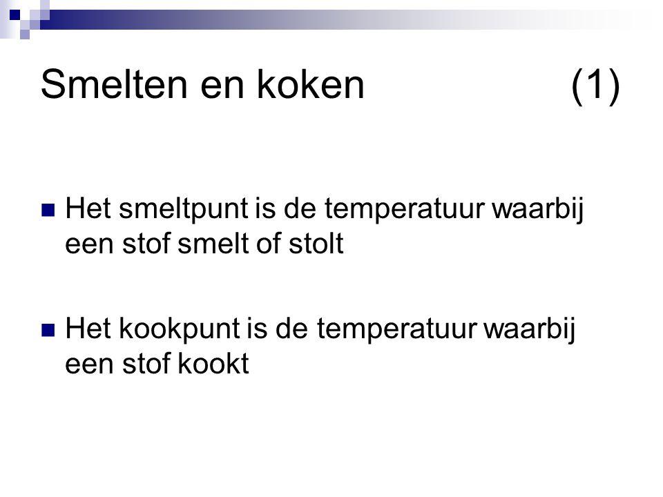 Smelten en koken(1)  Het smeltpunt is de temperatuur waarbij een stof smelt of stolt  Het kookpunt is de temperatuur waarbij een stof kookt