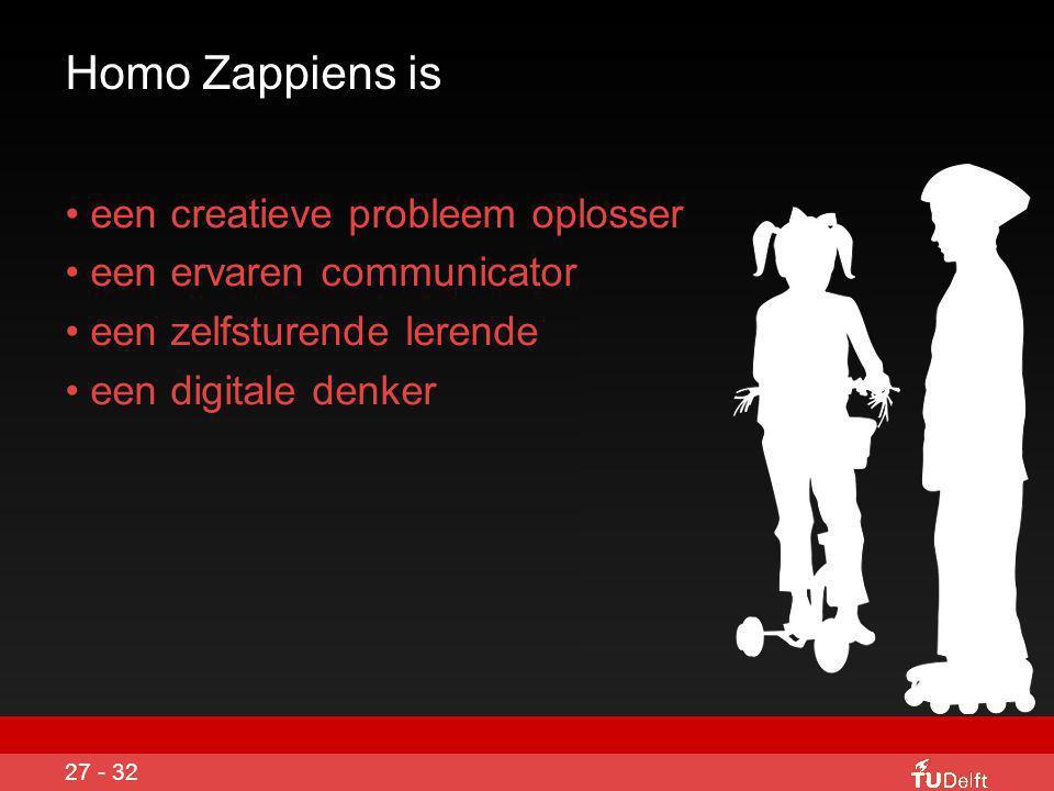 Homo Zappiens ontwikkelt meta- cognitieve vaardigheden • onderzoekend leren • leren in netwerken • experimenteren • samenwerkend leren • actief leren • zelf organisatie • probleem oplossend leren 26 - 32