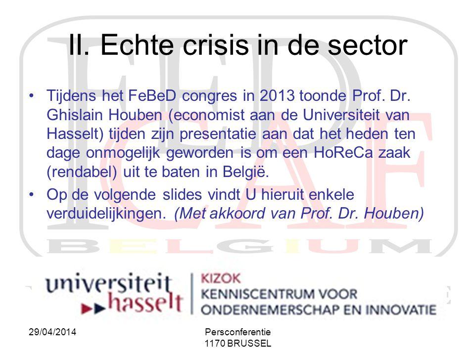 29/04/2014Persconferentie 1170 BRUSSEL II. Echte crisis in de sector •Tijdens het FeBeD congres in 2013 toonde Prof. Dr. Ghislain Houben (economist aa