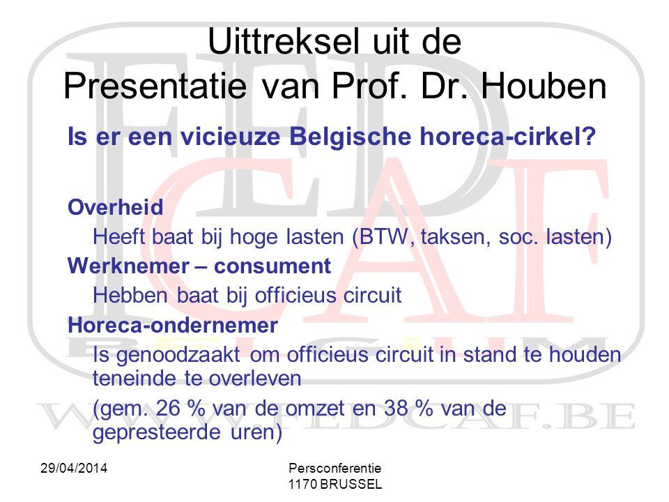 29/04/2014Persconferentie 1170 BRUSSEL Is er een vicieuze Belgische horeca-cirkel? Overheid Heeft baat bij hoge lasten (BTW, taksen, soc. lasten) Werk