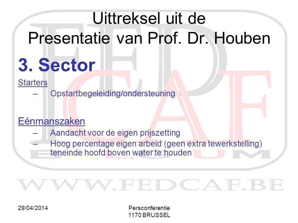 29/04/2014Persconferentie 1170 BRUSSEL 3. Sector Starters –Opstartbegeleiding/ondersteuning Eénmanszaken –Aandacht voor de eigen prijszetting –Hoog pe