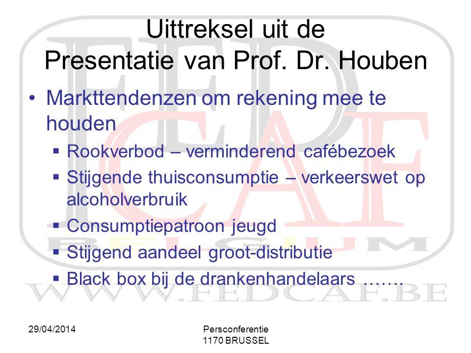 29/04/2014Persconferentie 1170 BRUSSEL •Markttendenzen om rekening mee te houden  Rookverbod – verminderend cafébezoek  Stijgende thuisconsumptie –