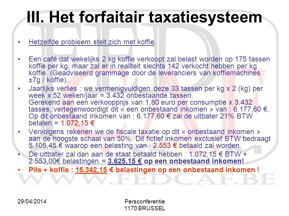 29/04/2014Persconferentie 1170 BRUSSEL III. Het forfaitair taxatiesysteem •Hetzelfde probleem stelt zich met koffie. •Een café dat wekelijks 2 kg koff