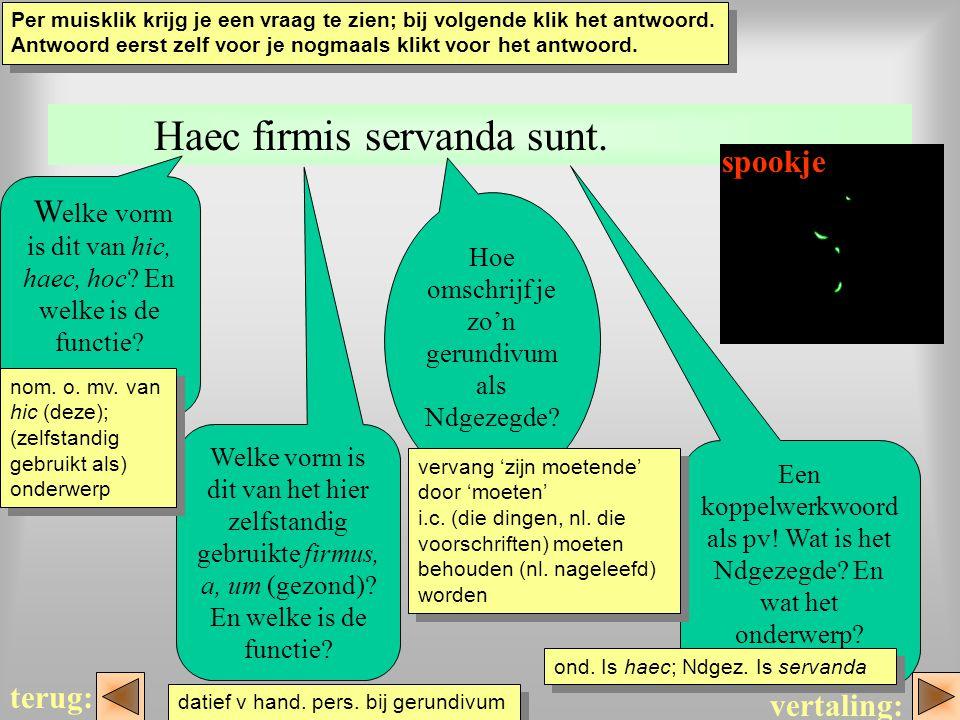 haec Haec firmis servanda sunt. W elke vorm is dit van hic, haec, hoc? En welke is de functie? Hoe omschrijf je zo'n gerundivum als Ndgezegde? Een kop