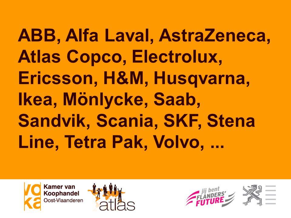 ABB, Alfa Laval, AstraZeneca, Atlas Copco, Electrolux, Ericsson, H&M, Husqvarna, Ikea, Mönlycke, Saab, Sandvik, Scania, SKF, Stena Line, Tetra Pak, Vo