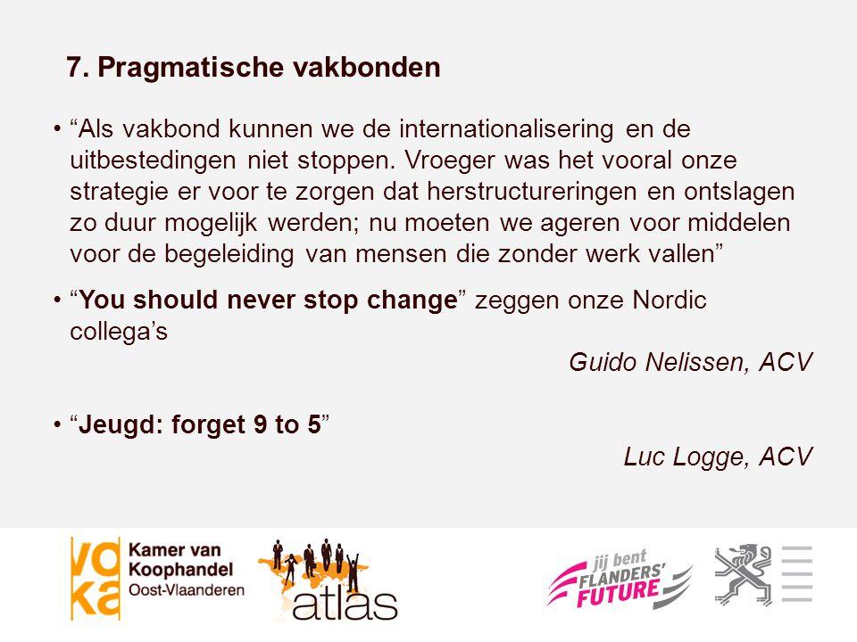 """7. Pragmatische vakbonden •""""Als vakbond kunnen we de internationalisering en de uitbestedingen niet stoppen. Vroeger was het vooral onze strategie er"""