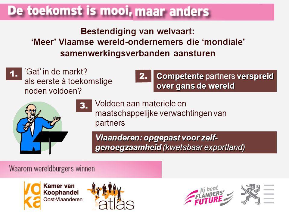 'Gat' in de markt? als eerste à toekomstige noden voldoen? Bestendiging van welvaart: 'Meer' Vlaamse wereld-ondernemers die 'mondiale' samenwerkingsve