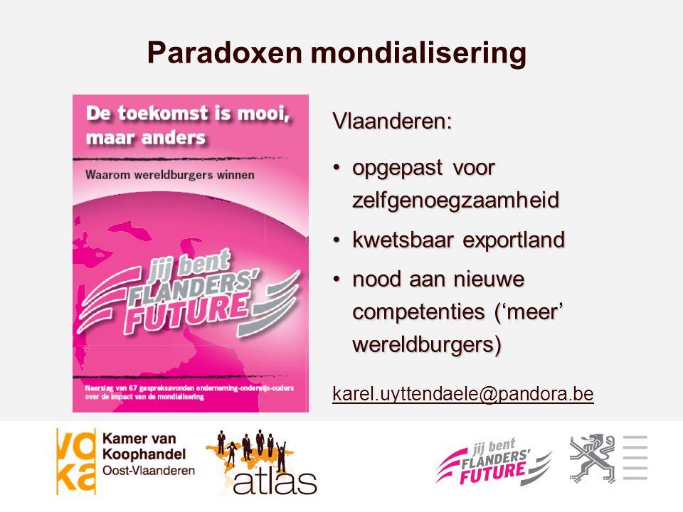 Paradoxen mondialisering Vlaanderen: •opgepast voor zelfgenoegzaamheid •kwetsbaar exportland •nood aan nieuwe competenties ('meer' wereldburgers) kare