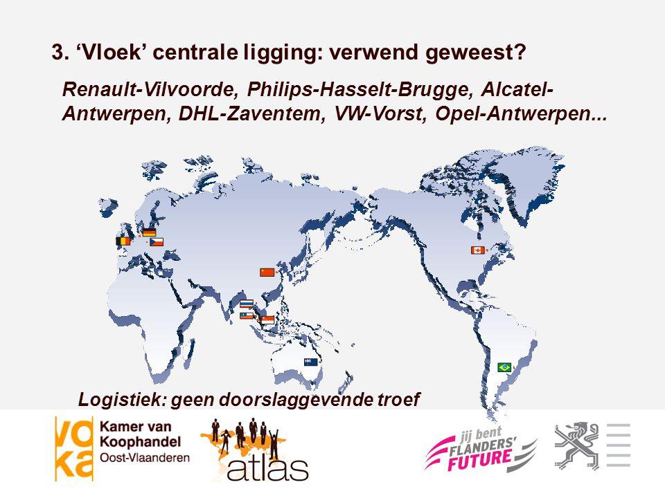 Logistiek: geen doorslaggevende troef 3. 'Vloek' centrale ligging: verwend geweest? Renault-Vilvoorde, Philips-Hasselt-Brugge, Alcatel- Antwerpen, DHL