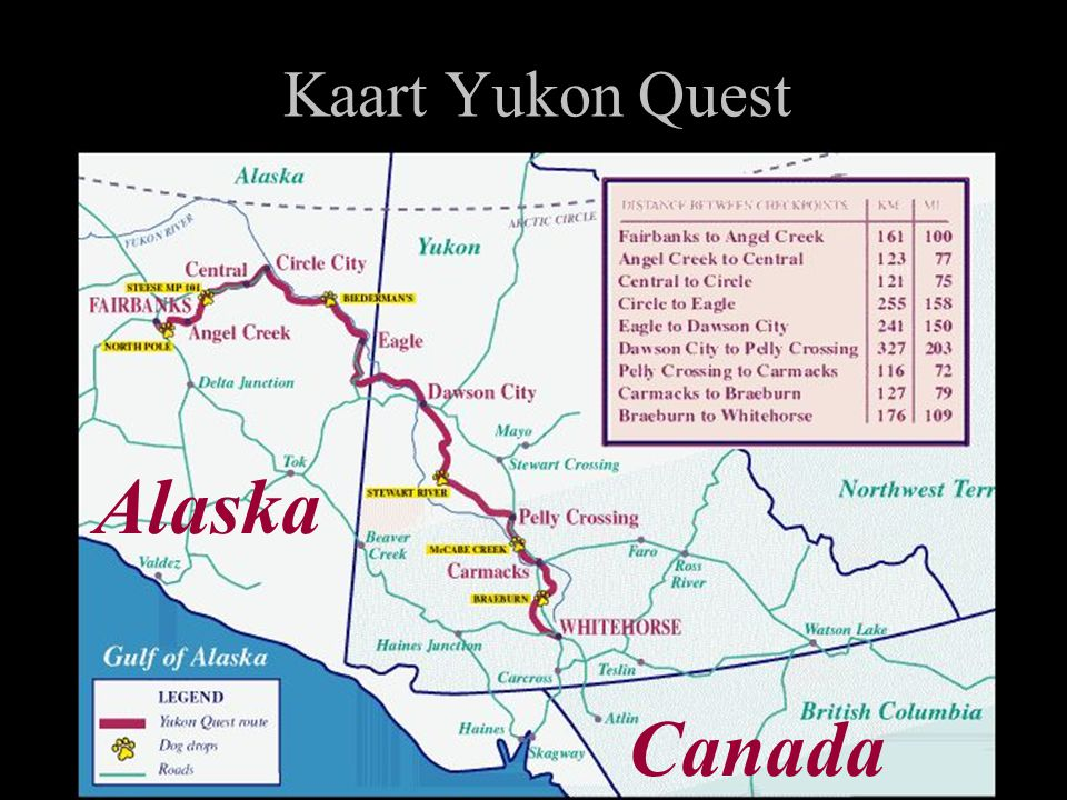 Kaart Yukon Quest Alaska Canada
