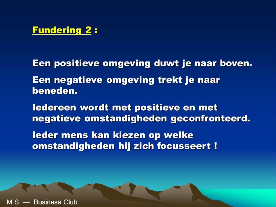 Fundering 2 : Een positieve omgeving duwt je naar boven.