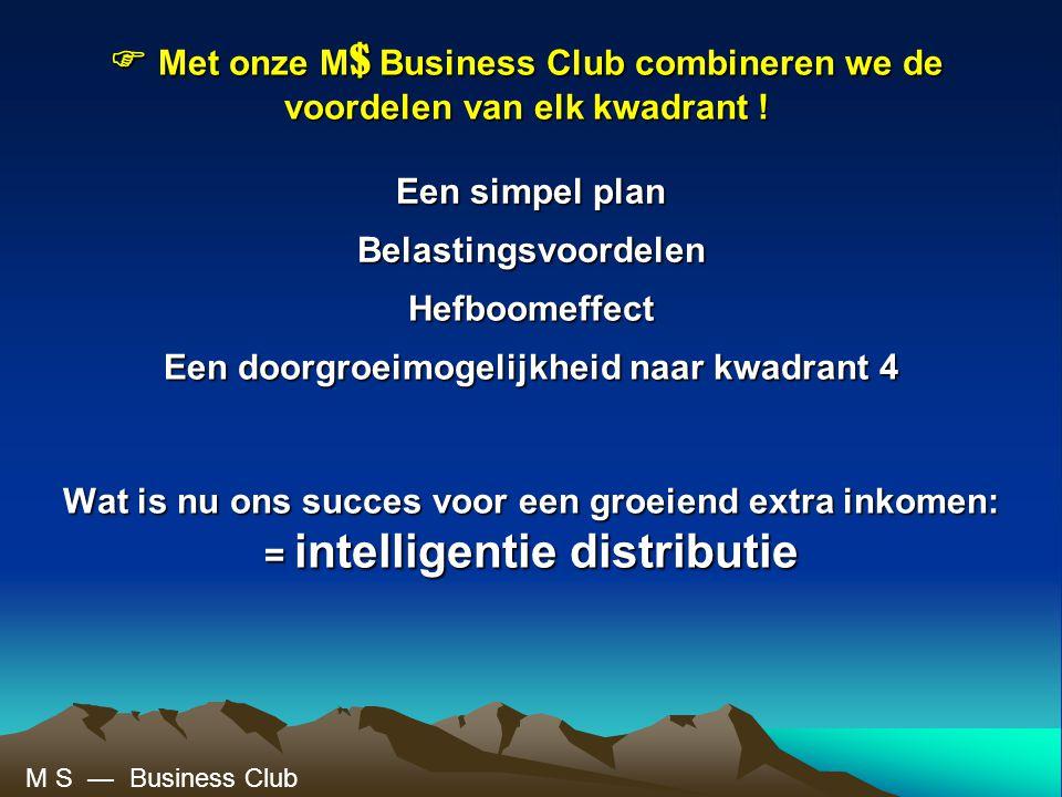 Wat is nu ons succes voor een groeiend extra inkomen: = intelligentie distributie  Met onze M $ Business Club combineren we de voordelen van elk kwadrant .