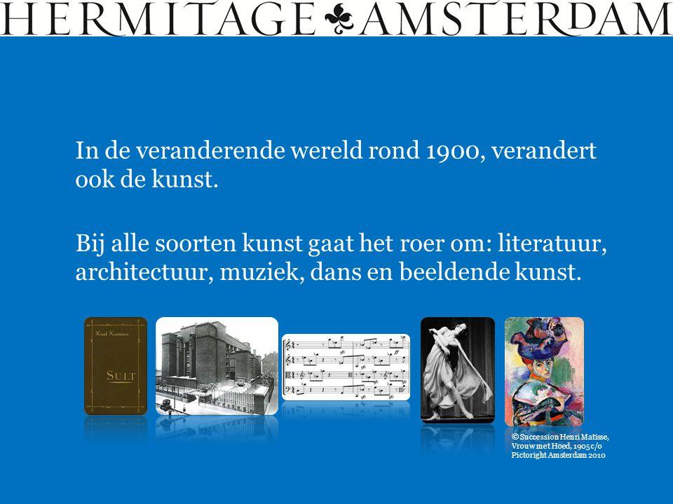 In de veranderende wereld rond 1900, verandert ook de kunst. Bij alle soorten kunst gaat het roer om: literatuur, architectuur, muziek, dans en beelde