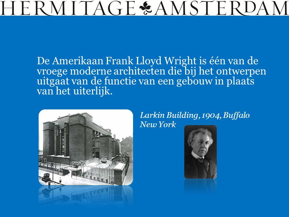 De Amerikaan Frank Lloyd Wright is één van de vroege moderne architecten die bij het ontwerpen uitgaat van de functie van een gebouw in plaats van het